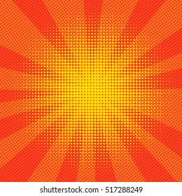 Explosion vector illustration. Retro pop art background with dots. Comic book fight stamp for card Superhero action frame background. Light rays.