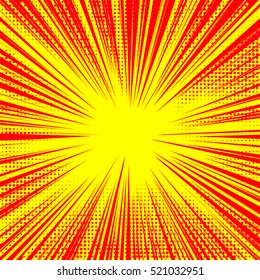 Explosion vector illustration. Retro pop art background with dots. Light rays