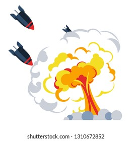 Explosion war bomb flame mushroom rockets or missiles vector air attack damage combat military forces destruction fire bombardment danger nuclear weapon technology conflict battle and defense.