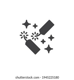 Explosive firecracker vector icon. filled flat sign for mobile concept and web design. Firecracker petard glyph icon. Pyrotechnics symbol, logo illustration. Vector graphics