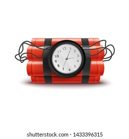 Explosive red dynamite sticks with clock and wires. Explosion themed isolated vector illustration on white background with timer until bomb detonation, dangerous weapon ready to explode.