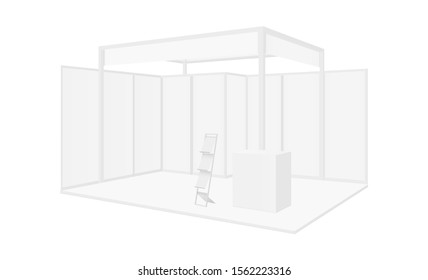 Expo booth for exhibition isolated on white background. Vector illustration
