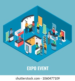 Expo event concept vector flat 3d illustration. Isometric exhibition equipment, young man and woman promoters and visitors.