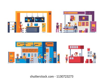 Expo stand exhibition illustration with view of exhibit area with booth for different agencies and people with products and handout isolated pixel art vector illustrations.