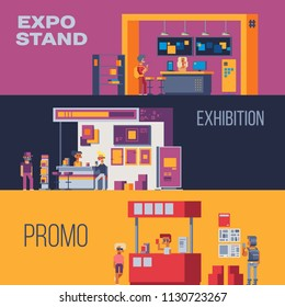 Expo stand trade show exhibition set of isolated exhibit racks stands booth elements and people pixel art vector illustrations.