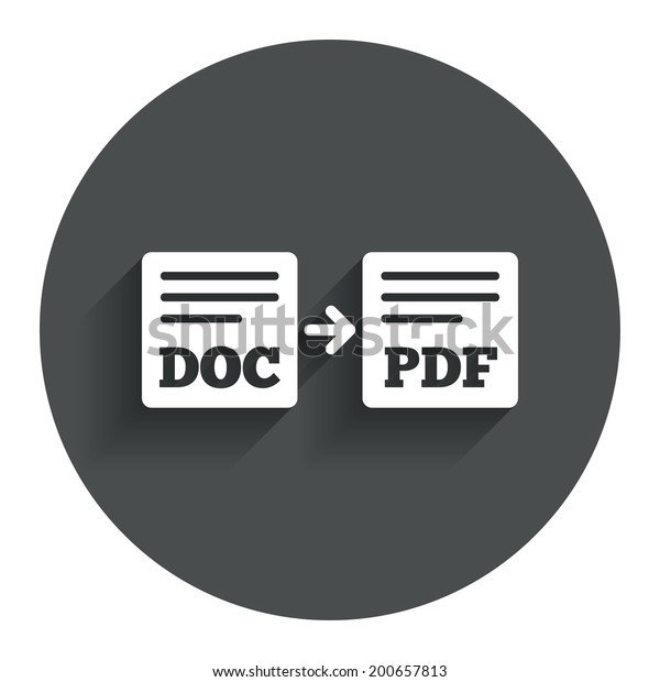 Export DOC to PDF icon. File document symbol. Circle flat button with shadow. Modern UI website navigation. Vector