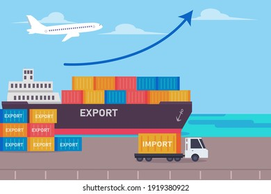 Export import shipment vector concept: Containers loading on the ship in the port