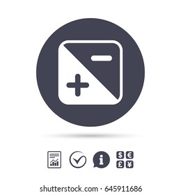 Exposure photo camera sign icon. Quantity of light settings. Report document, information and check tick icons. Currency exchange. Vector