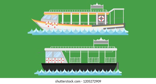 Express boat ship boat vessel craft barge ark river water Lifebuoy barge float raft punt pram pontoon passenger fare chair pad ticket vector illustrator eps10
