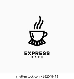 Express cafe logo template design. Vector illustration.