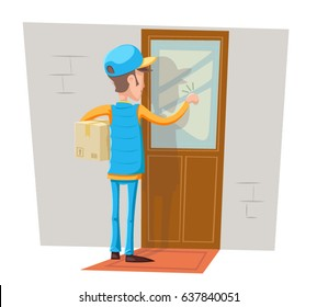 Express Courier Special Delivery Boy Man Messenger Cardboard Box Concept Knocking at Customer Door Wall Background  sc 1 st  Shutterstock & Door Delivery Images Stock Photos u0026 Vectors | Shutterstock