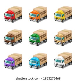 Express Delivery colorful 3D trucks. Vector Illustration.