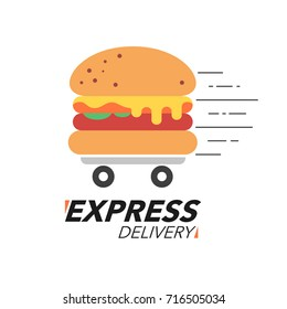 Express delivery concept. Burger or fast food service, order, fast and free shipping. Modern design vector illustration.