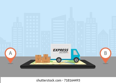 Express delivery concept. Checking delivery service app on mobile phone. Delivery truck with cardboard box on mobile phone and city background. Vector illustration.