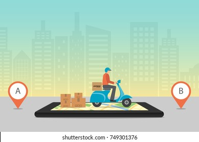 Express delivery concept. Delivery service app on mobile phone. scooter motorcycle with cardboard box on mobile phone and city background. Vector illustration.