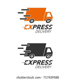 Express delivery icon concept. Truck service, order, worldwide, fast and free shipping. Modern design vector illustration.