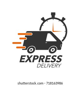 Express delivery icon concept. Van with stop watch icon for service, order, fast, free and worldwide shipping. Modern design vector illustration.