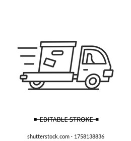 Express delivery icon. Line pictogram of fast courier truck with post box. Concept of same day safe delivery and logistic service in corona virus retail lockdown. Editable stroke vector illustration