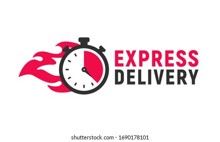 Express delivery icon with stopwatch and fire. Delivery logo, poster template. Timer icon. Fast shipping concept. Vector illustration