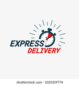 Express delivery icon. Timer and express delivery inscription on light background. Fast delivery, express and urgent shipping, services, chronometer sign. vector illustration