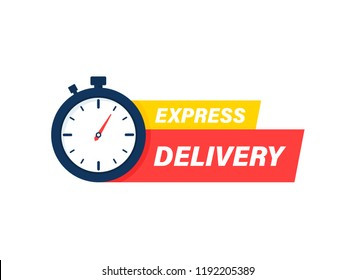 Express delivery icon. Timer and express delivery inscription vector illustration isolated on white background.