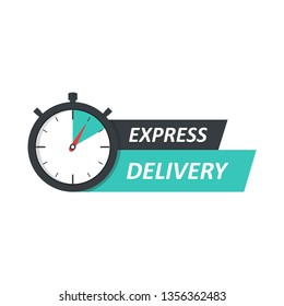 Express delivery logo concept. Stopwatch icon for express service. Template design for service, order, fast, free and worldwide shipping. Vector illustration