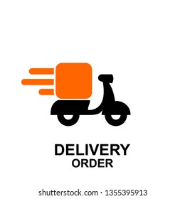 express delivery logo icon vector template with scooter bike box