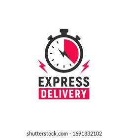 Express Delivery logo template with stopwatch and thunder bolts icons. Fast shipping symbol. Timer icon. Vector illustration