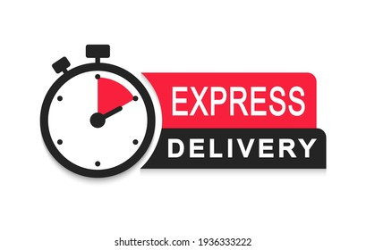 Express delivery logo. Timer icon with inscription for express service. Delivery concept. Fast delivery. Quick shipping icon. Vector illustration.