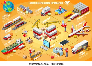Express delivery man isometric people vector van truck car infographic icons