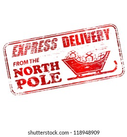 Express delivery from the North Pole rubber stamp vector illustration