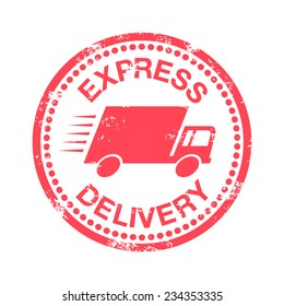 Express delivery, rubber stamp, vector illustration