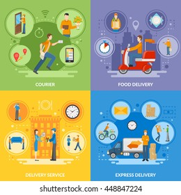 Express delivery service and courier people delivering food and different goods 2x2 flat icons set vector illustration