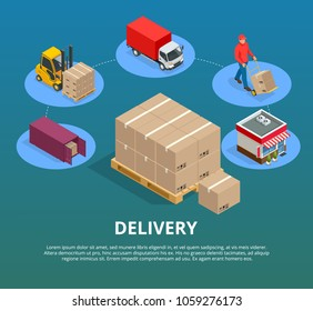 Express delivery service flat design modern vector illustration concept. Logistic and transportation. Warehousing export, import and domestic distribution centers
