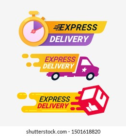 Express delivery service logo badge. Quick shipping delivery icon. Fast time delivery order with stopwatch and cargo.