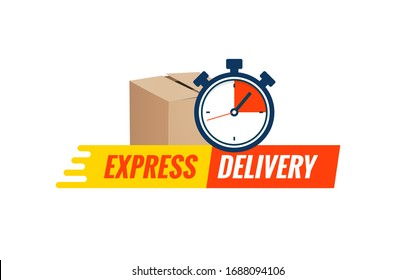 Express delivery service logo. Fast time delivery order with stopwatch. Quick shipping delivery icon