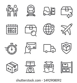 Express delivery service vector linear icons set. Global logistics and distribution thin line illustrations pack. Auto shipping. Air, ship and train freight transportation isolated clipart collection