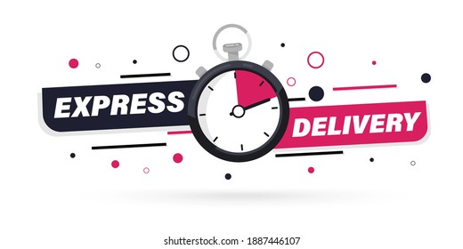 Express delivery with Stopwatch icon for apps and website. Fast delivery. Timer and express delivery inscription. Urgent shipping services.Delivery quick move. Fast distribution service 24 7