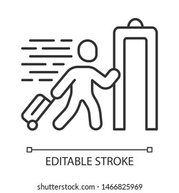 Express entry linear icon. Passenger passing x-ray check at airport. Body scan machine. Customs inspection. Thin line illustration. Contour symbol. Vector isolated outline drawing. Editable stroke