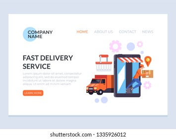 Express fast delivery logistic cargo. Courier man character delivering box parcel to consumer. E-commerce web page banner poster flat cartoon graphic design concept