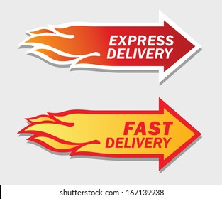 Express and Fast Delivery symbols. Vector flat design