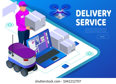 Express home delivery. Courier gives the woman a box. Shopping online. Free shipping, 24 hour delivery. Flat 3d vector isometric illustration. Worldwide Express Delivery Concept.