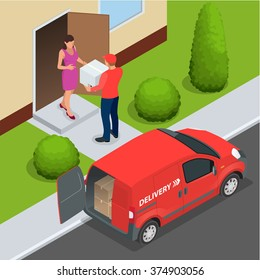 Express home delivery. Courier gives the woman a box. Shopping online. Free shipping, 24 hour delivery. Flat 3d vector isometric illustration