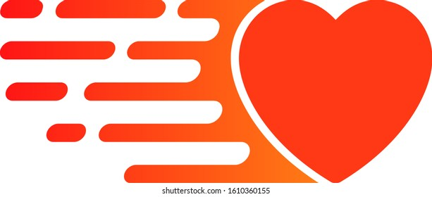 Express love heart vector icon. Flat Express love heart pictogram is isolated on a white background.