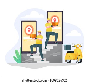 express scooter delivery orders to customers a flat illustration concept