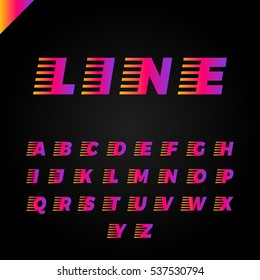 Express service font. Fast speed lines alphabet.Vector.