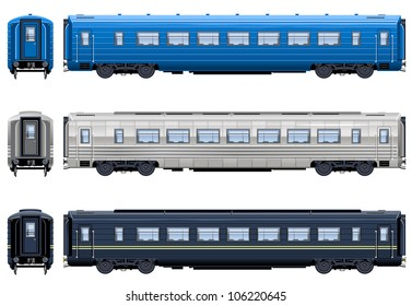 Express train coach  (Train #8). Pixel optimized. Elements are in the separate layers. In the side, back and front views.  Please see my portfolio for the locomotive ( Image ID: 106220093 )