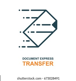 Express transfer logo. File transfer and fast delivery icon. Flat design.