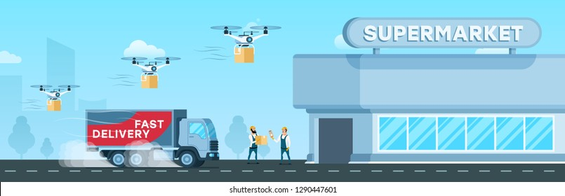 Express Truck, Air Drone Delivery to Supermarket. Flying Device and Fast Shipping Van Delivering Goods and Box to Modern Glass City Mall. Worker Checking Freight. Flat Cartoon Vector Illustration