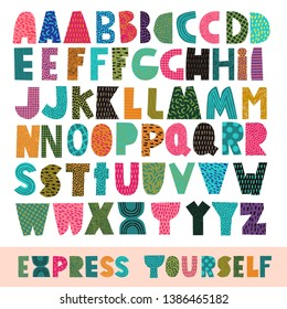 Express yourself vector papercut alphabet for collage